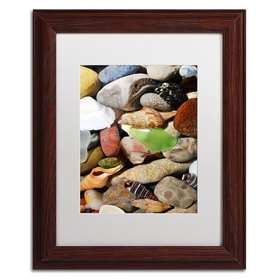 Trademark Michelle Calkins Petoskey Stones l Art, White Matte With Wood Frame, 11 x 14