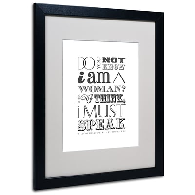 Trademark Megan Romo Women Must Speak II Art, White Matte W/Black Frame, 16 x 20