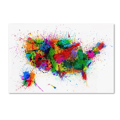 Trademark Michael Tompsett US Paint Splashes Gallery-Wrapped Canvas Art, 12 x 19