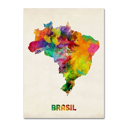 Trademark Michael Tompsett Brasil Watercolor Map Gallery-Wrapped Canvas Art, 35 x 47