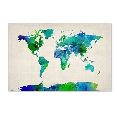 Trademark Michael Tompsett World Map Watercolor Gallery-Wrapped Canvas Art, 12 x 19