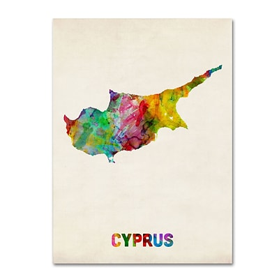 Trademark Michael Tompsett Cyprus Watercolor Map Gallery-Wrapped Canvas Art, 35 x 47