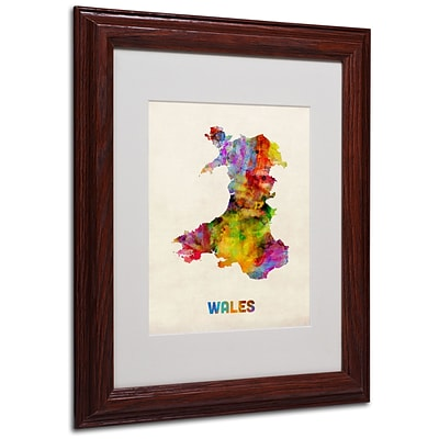 Trademark Michael Tompsett Wales Watercolor Map Art, White Matte W/Wood Frame, 11 x 14