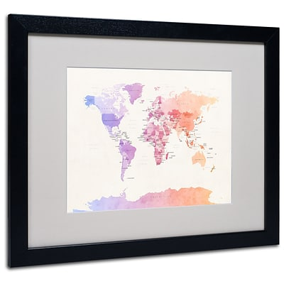 Trademark Michael Tompsett Poltical Watercolor Map Art, White Matte W/Black Frame, 16 x 20
