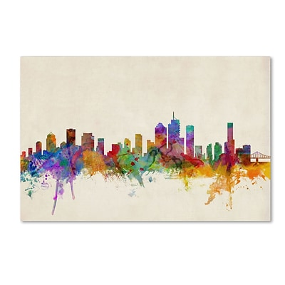 Trademark Michael Tompsett Brisbane Watercolor Skyline Gallery-Wrapped Canvas Art, 12 x 19