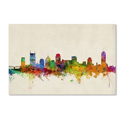 Trademark Michael Tompsett Nashville Watercolor Skyline Gallery-Wrapped Canvas Art, 12 x 19