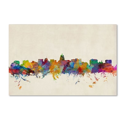Trademark Michael Tompsett Madison Watercolor Skyline Gallery-Wrapped Canvas Art, 22 x 32