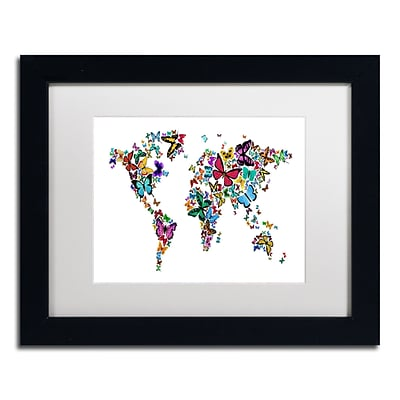 Trademark Michael Tompsett Butterflies Map of the World Art, White Matte W/Black Frame, 11 x 14