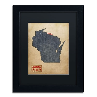 Trademark Michael Tompsett Wisconsin Map Denim Jeans.. Art, Black Matte W/Black Frame, 11 x 14