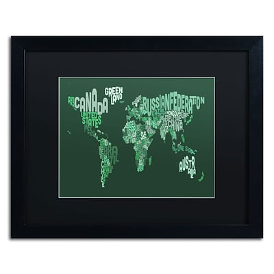 Trademark Michael Tompsett Text Map of the World Art, Black Matte W/Black Frame, 16 x 20