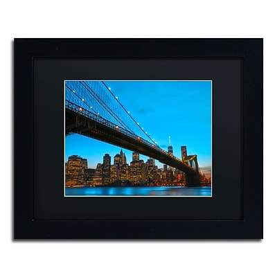 Trademark CATeyes Brooklyn Bridge 1 Art, Black Matte W/Black Frame, 11 x 14