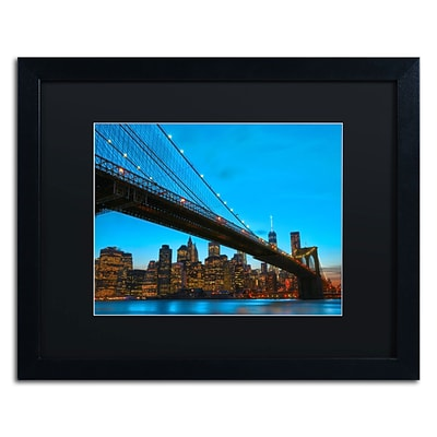 Trademark CATeyes Brooklyn Bridge 1 Art, Black Matte W/Black Frame, 16 x 20