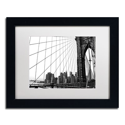 Trademark CATeyes Brooklyn Bridge 4 Art, White Matte W/Black Frame, 11 x 14