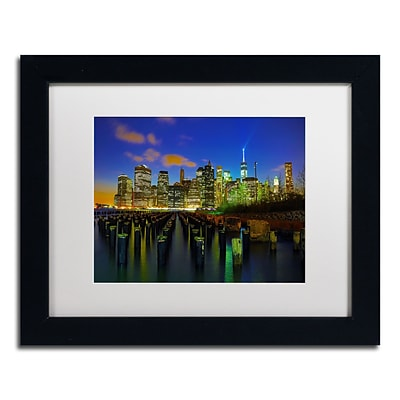 Trademark CATeyes City Lights 1 Art, White Matte W/Black Frame, 11 x 14
