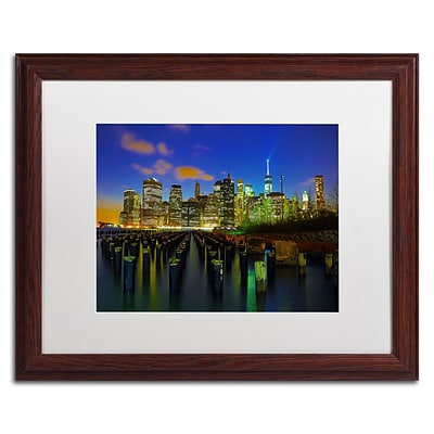 Trademark CATeyes City Lights 1 Art, White Matte W/Wood Frame, 16 x 20