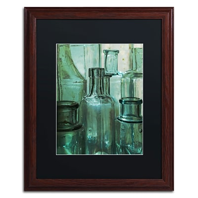 Trademark Patty Tuggle Antique Bottles Art, Black Matte With Wood Frame, 16 x 20
