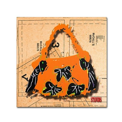 Trademark Roderick Stevens Bow Purse Black on Orange Gallery-Wrapped Canvas Art, 24 x 24