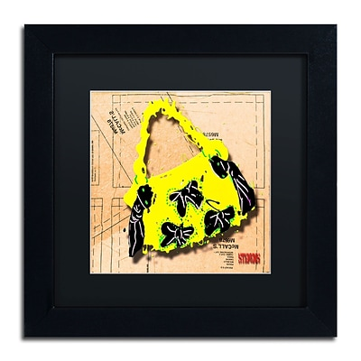 Trademark Roderick Stevens Bow Purse Black on Yellow Art, Black Matte With Black Frame, 11 x 11