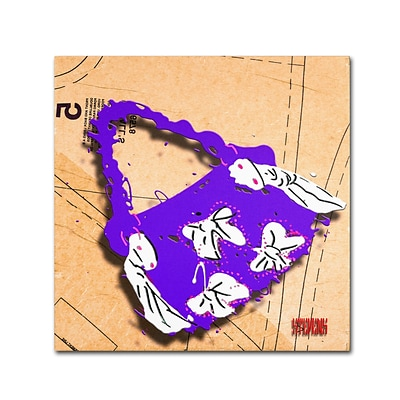 Trademark Roderick Stevens Bow Purse White on Purple Gallery-Wrapped Canvas Art, 14 x 14