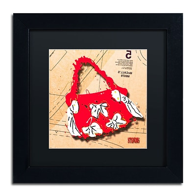 Trademark Roderick Stevens Bow Purse White on Red Art, Black Matte With Black Frame, 11 x 11