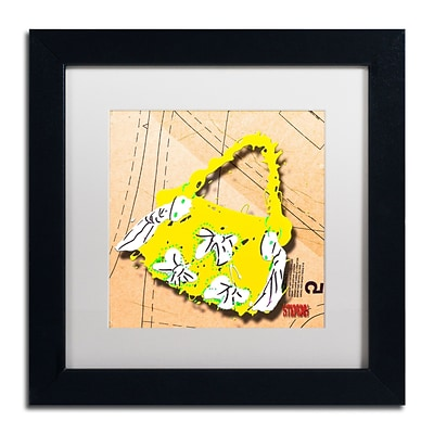 Trademark Roderick Stevens Bow Purse White on Yellow Art, White Matte With Black Frame, 11 x 11