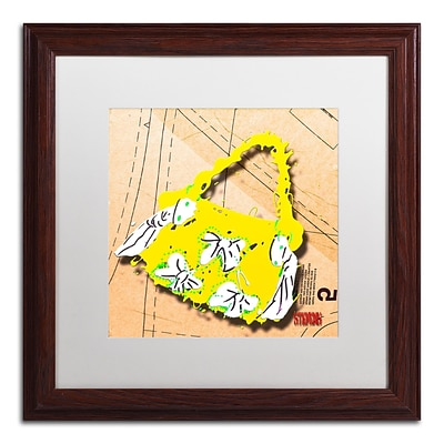 Trademark Roderick Stevens Bow Purse White on Yellow Art, White Matte With Wood Frame, 16 x 16