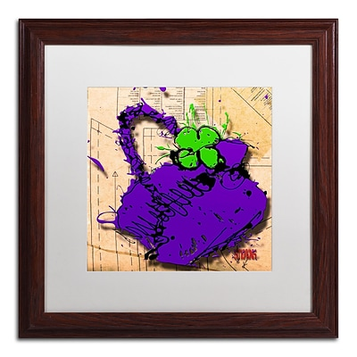 Trademark Roderick Stevens Flower Purse Green on Purple Art, White Matte W/Wood Frame, 16 x 16