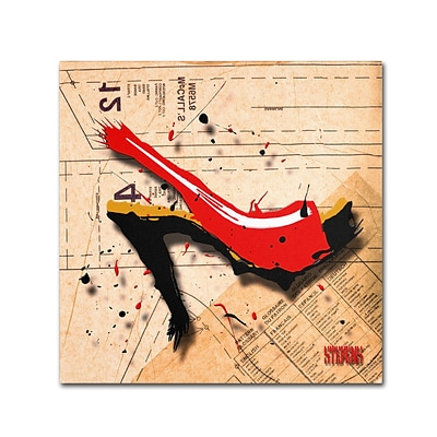 Trademark Roderick Stevens Suede Heel Red Gallery-Wrapped Canvas Art, 14 x 14