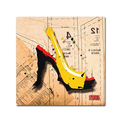 Trademark Roderick Stevens Suede Heel Yellow Gallery-Wrapped Canvas Art, 14 x 14