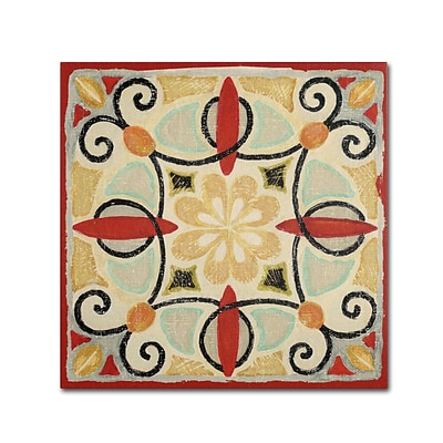 Trademark Daphne Brissonnet Bohemian Rooster Tile Square II Gallery-Wrapped Canvas Art, 24 x 24