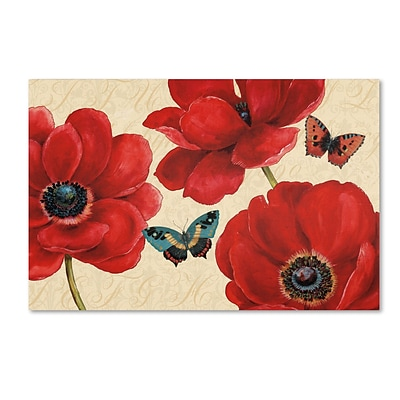 Trademark Daphne Brissonnet Petals and Wings on Beige I Gallery-Wrapped Canvas Art, 12 x 19