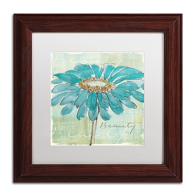 Trademark Chris Paschke Spa Daisies I Art, White Matte With Wood Frame, 11 x 11