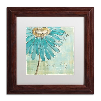 Trademark Chris Paschke Spa Daisies III Art, White Matte With Wood Frame, 11 x 11