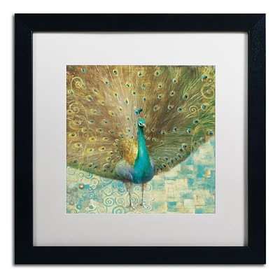 Trademark Danhui Nai Teal Peacock on Gold Art, White Matte W/Black Frame, 16 x 16