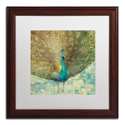 Trademark Danhui Nai Teal Peacock on Gold Art, White Matte W/Wood Frame, 16 x 16