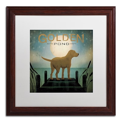 Trademark Ryan Fowler Moonrise Yellow Dog Golden Pond Art, White Matte With Wood Frame, 16 x 16