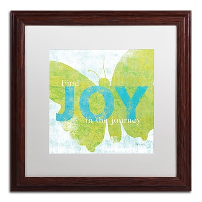 Trademark Sue Schlabach Letterpress Joy Art, White Matte With Wood Frame, 16 x 16