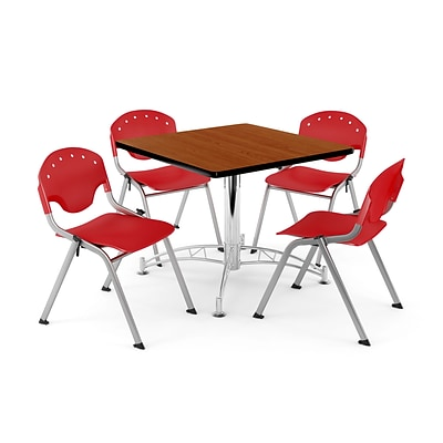 OFM PKG-BRK-07-0002 42 Square Multi-Purpose Table with 4 Chairs, Cherry Table/Red Chair