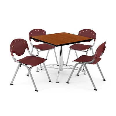 OFM PKG-BRK-05-0003 36 Square Wood Multi-Purpose Table with 4 Chairs, Cherry Table/Burgundy Chair