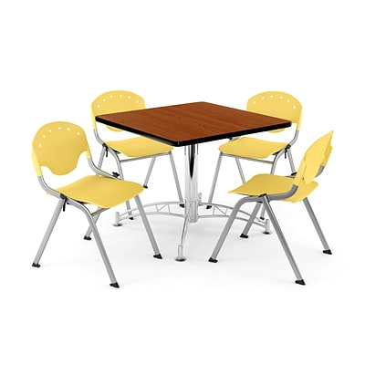 OFM PRKBRK-05-0004 36 Square Wood Multipurpose Table w 4 Chairs, Cherry Table/Lemon Yellow Chair