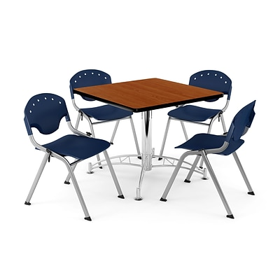OFM PKG-BRK-05-0005 36 Square Wood Multi-Purpose Table with 4 Chairs, Cherry Table/Navy Chair