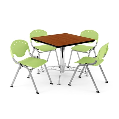 OFM PKG-BRK-07-0006 42 Square Multi-Purpose Table with 4 Chairs, Cherry Table/Lime Green Chair