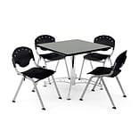 OFM PKG-BRK-05-0007 36 Square Wood Multi-Purpose Table with 4 Chairs, Gray Nebula Table/Black Chair