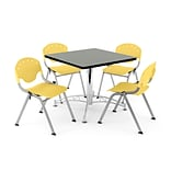 OFM PRKBRK-05-0010 36 Square Wood Multipurpose Table w 4 Chairs, Gray Nebula Table/Lemon YLW Chair