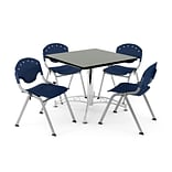 OFM PKG-BRK-07-0011 42 Square Multi-Purpose Table with 4 Chairs, Gray Nebula Table/Navy Chair