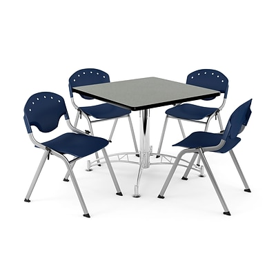 OFM PKG-BRK-05-0011 36 Square Wood Multi-Purpose Table with 4 Chairs, Gray Nebula Table/Navy Chair