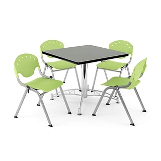 OFM PRKBRK-05-0012 36 Square Wood Multipurpose Table w 4 Chairs, Gray Nebula Table/Lime Green Chair