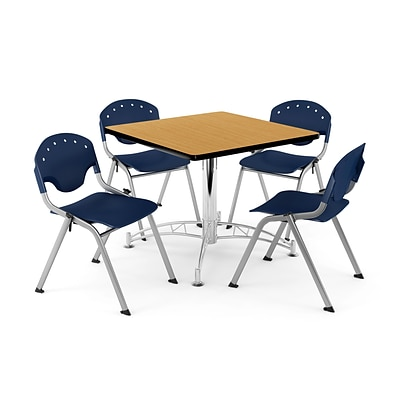 OFM PKG-BRK-07-0023 42 Square Multi-Purpose Table with 4 Chairs, Oak Table/Navy Chair