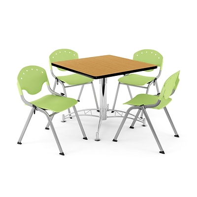 OFM PKG-BRK-05-0024 36 Square Wood Multi-Purpose Table with 4 Chairs, Oak Table/Lime Green Chair