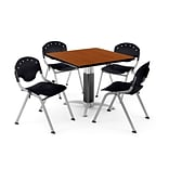 OFM PKG-BRK-022-0001 36 Square Laminate Multi-Purpose Table with 4 Chairs, Cherry Table/Black Chair